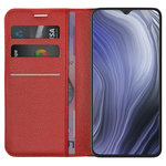 Leather Wallet Case & Card Holder Pouch for Oppo Reno Z (Red)